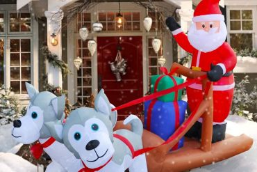 Coolest 8 Ft LED Inflatable Santa Claus Pull Sleigh Christmas Decoration