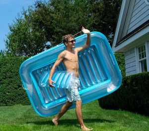 Tub inflatable pool lounger