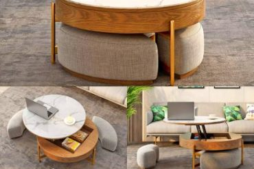 This Incredible Rising Coffee Table Has Three Integrated Ottomans That Conceal Underneath It