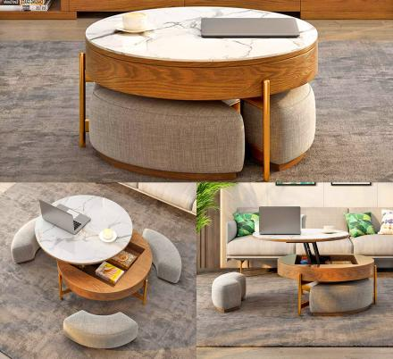 rising-coffee-table-has-3-integrated-ottomans